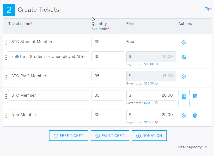 Creating different ticket levels for members and non-members.