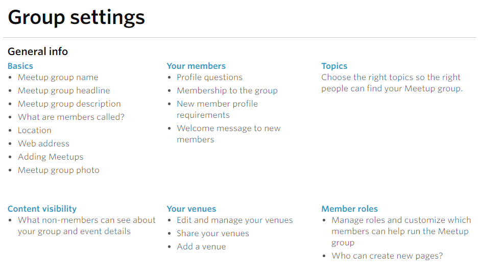 Meetup Group Settings