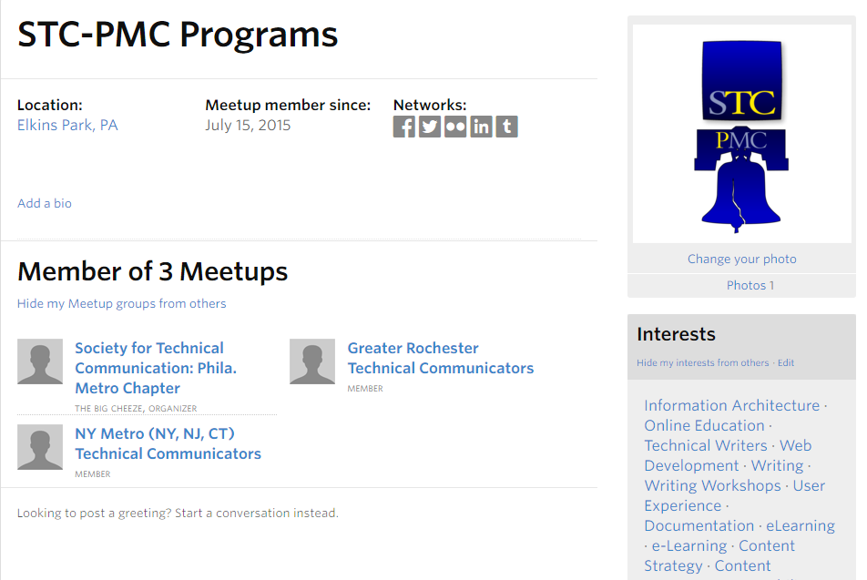 A meetup profile.