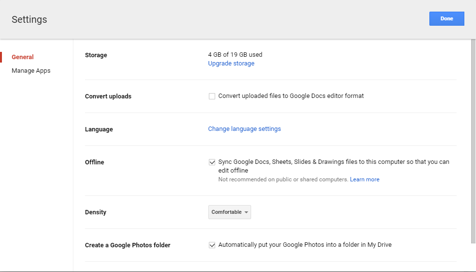 Settings for Google Drive