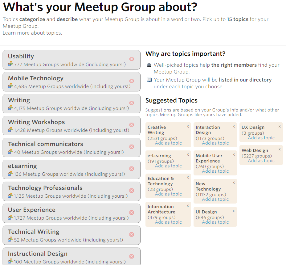 Meetup Group Topics
