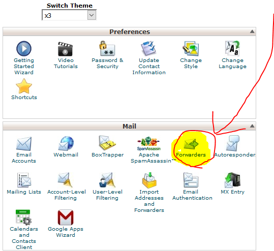 cPanel, showing the email forwarder